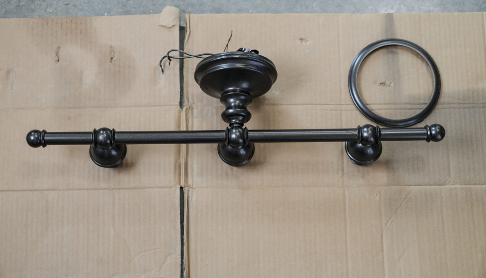DIY light fixture spray painted oil rubbed bronze