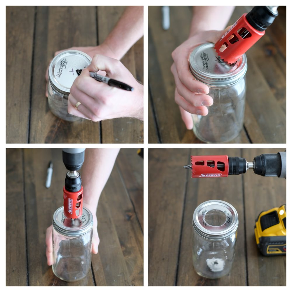 how to drill a hole in the lid of a mason jar