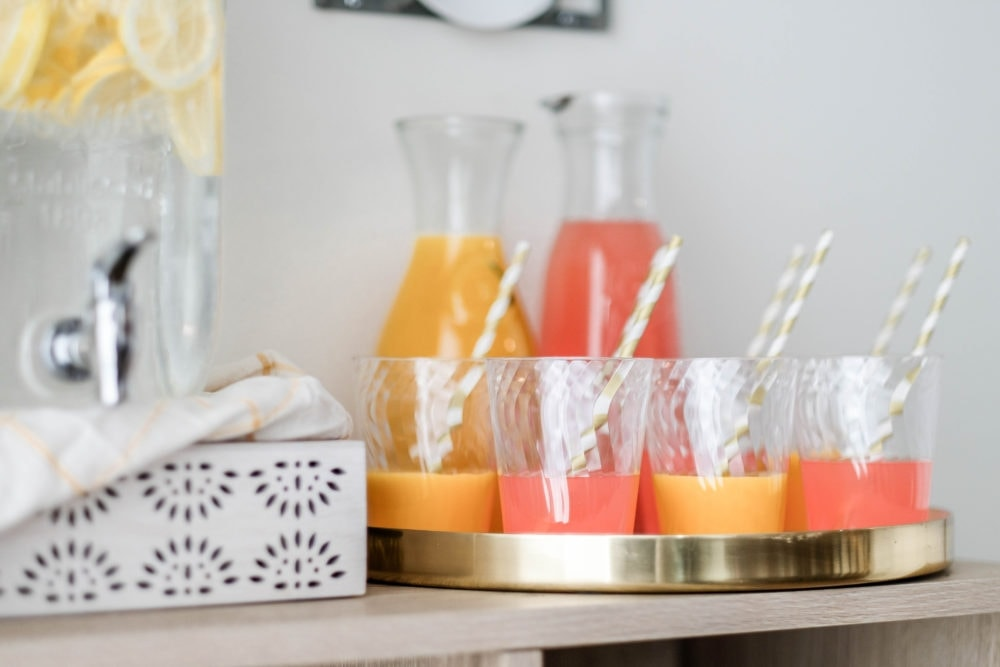 Chinet® Cut Crystal® Beverage Station with orange juice and grapefruit juice