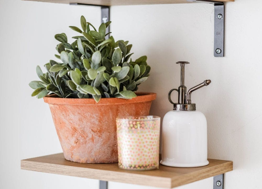 Shelf decor, clay pot and soap dispenser