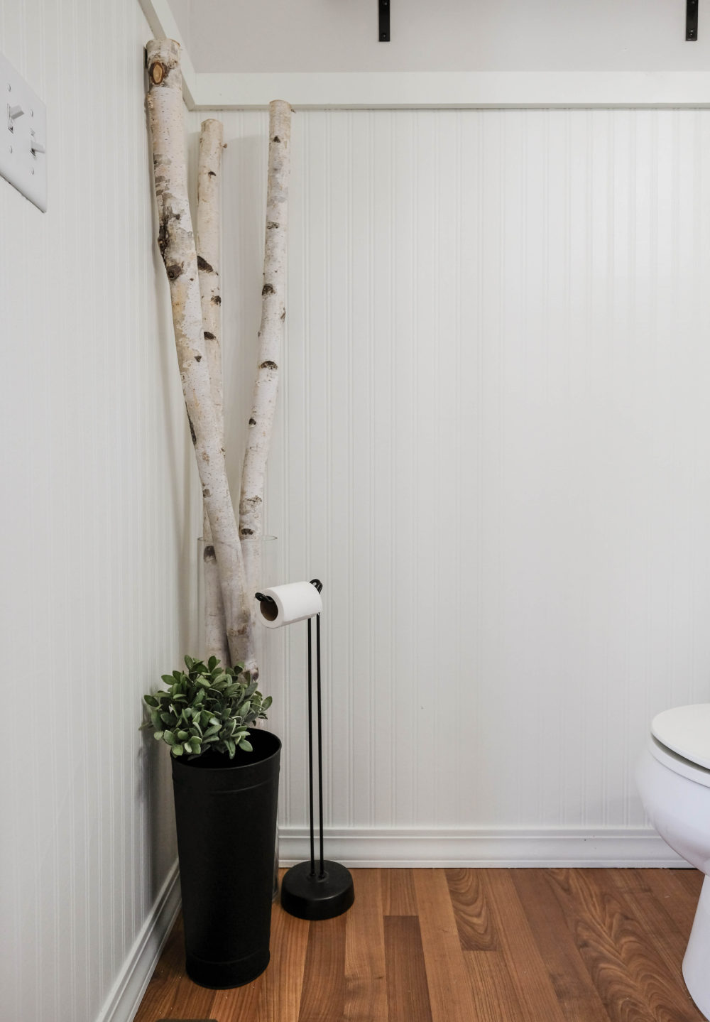 budget bathroom decor, birch branches and toilet paper holder