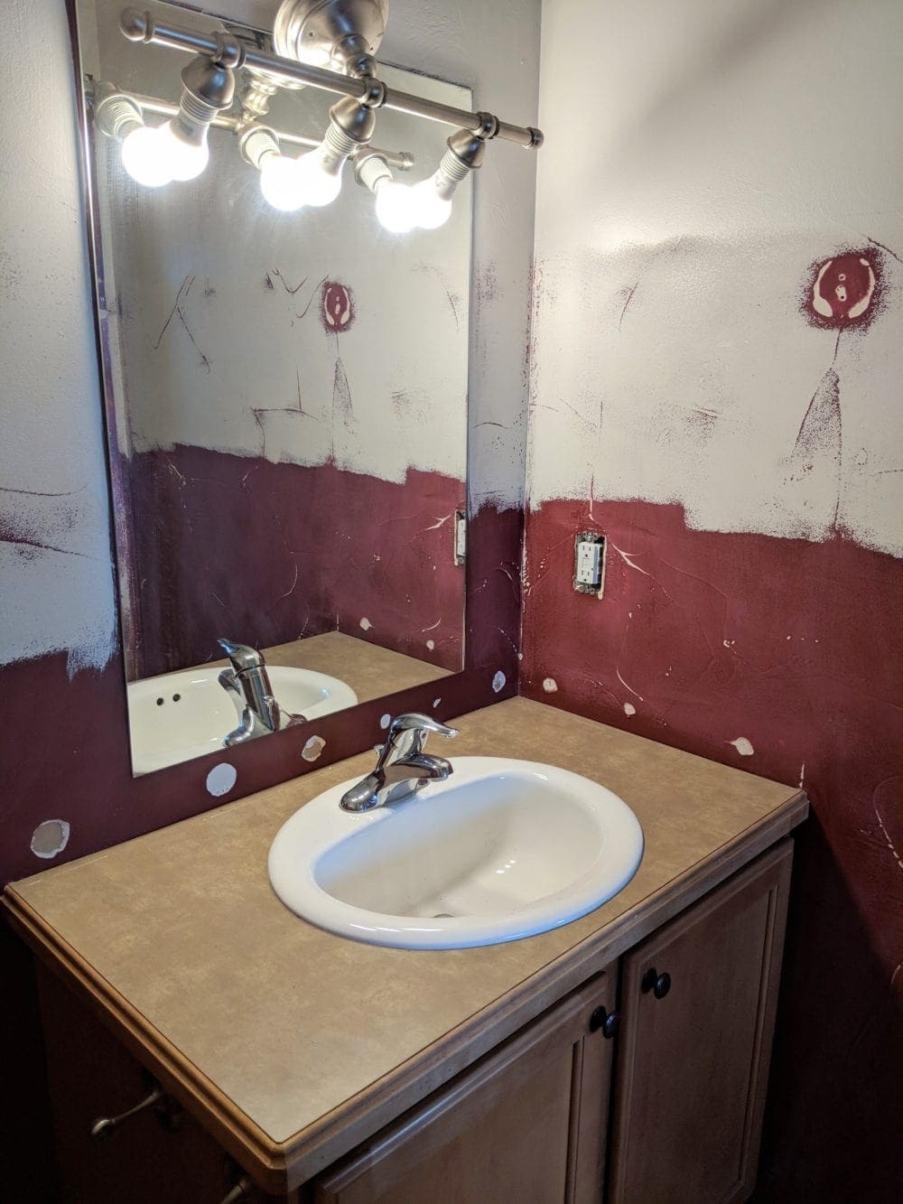 budget bathroom renovation with sanded walls before paint