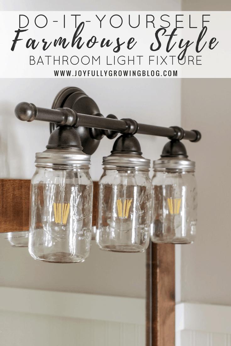 DIY farmhouse style mason jar light fixture