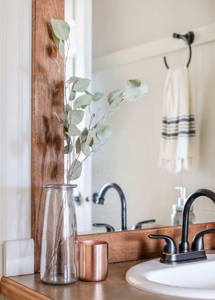 farmhouse bathroom decor on the vanity