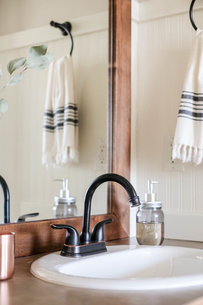 farmhouse style oil rubbed bronze bathroom faucet