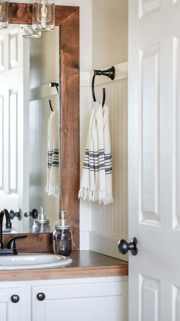 oil rubbed bronze towel hook a farmhouse style bathroom remodel