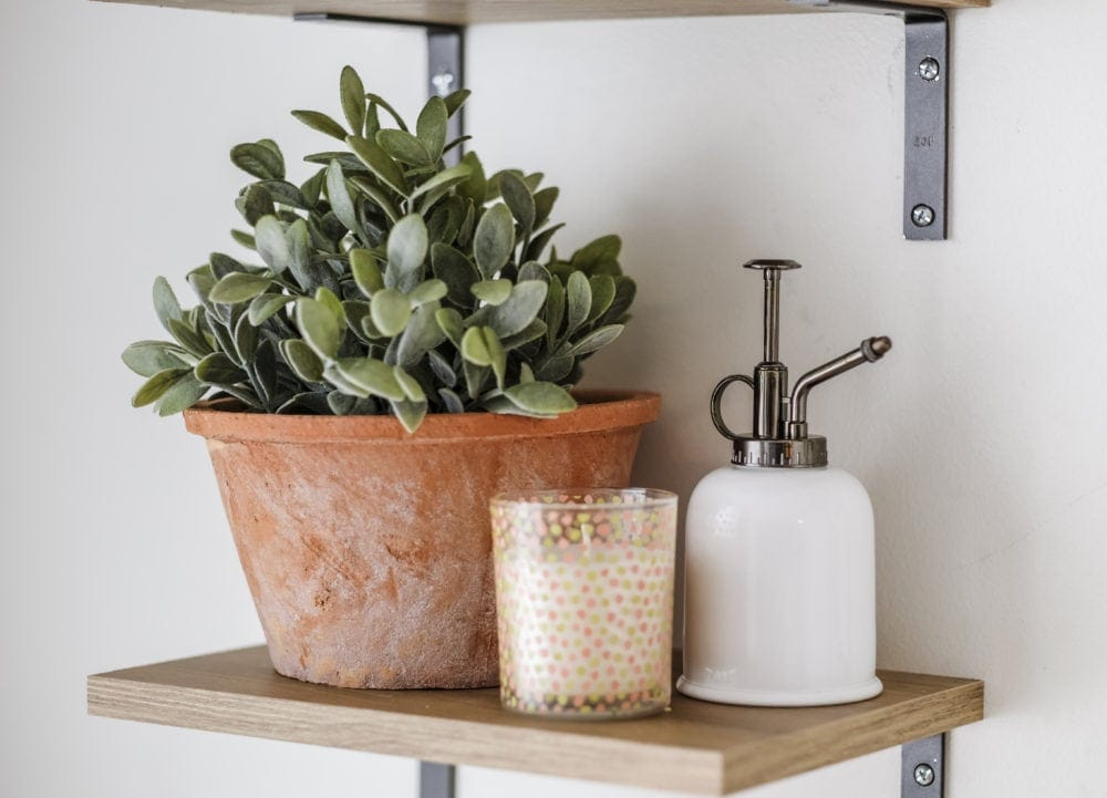 shelf styled with sage in a terracotta pot, a candle, and a watering can