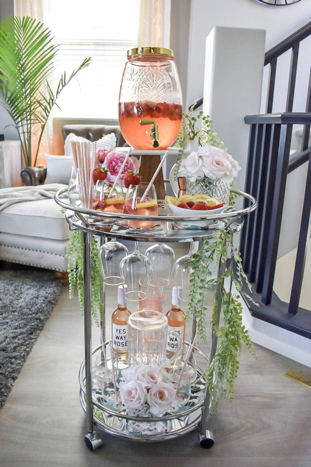 Summer bar cart decor with strawberry lemonade sangria