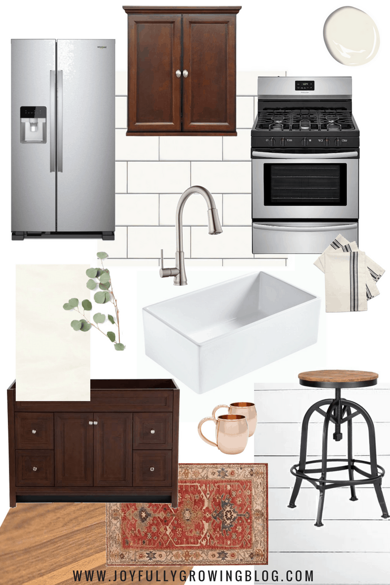Budget kitchen design mood board with wood cabinets and white farmhouse sink