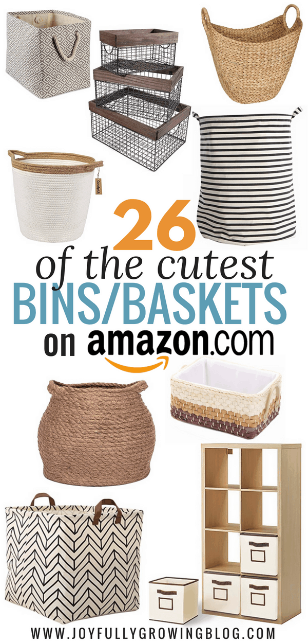 cute bins and baskets on amazon
