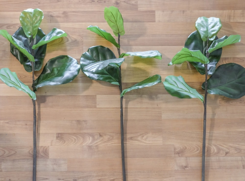 three faux fiddle leaf fig branches