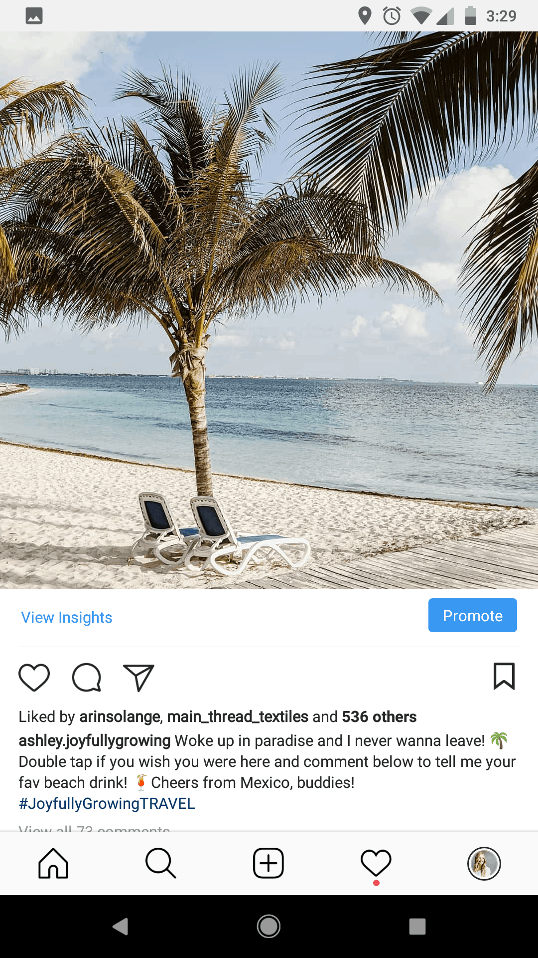 Screenshot of an instagram post with a picture of a beach