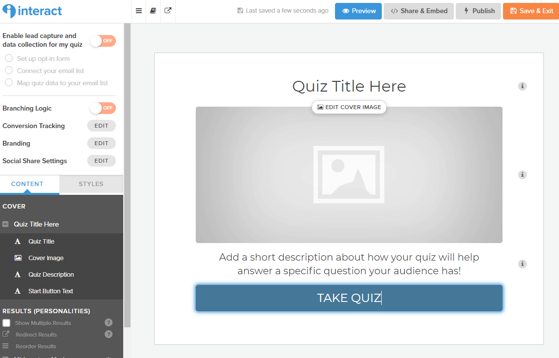 Screenshot on how to edit title page in tutorial on how to create a quiz