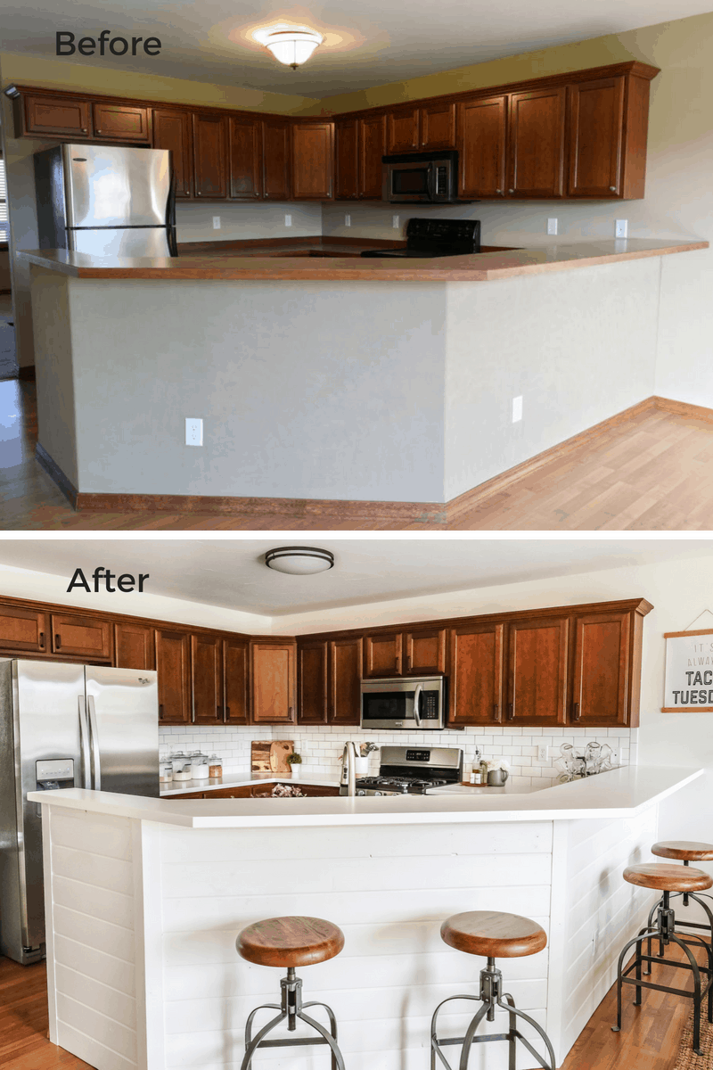 budget kitchen remodel before and after