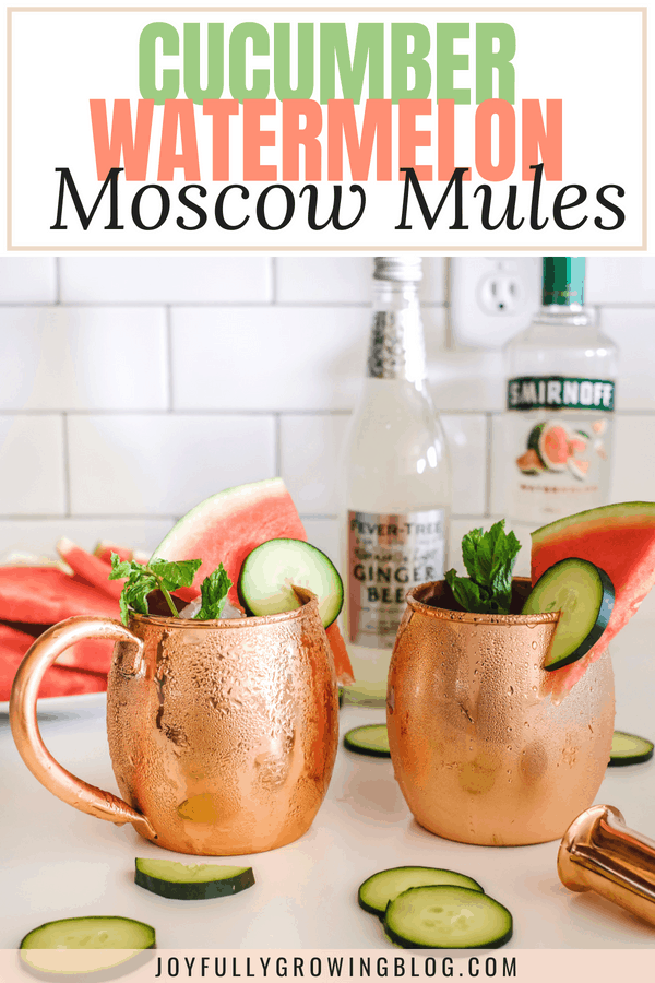 "Two copper mugs with moscow mule cocktails and text overlay that reads ""Cucumber Watermelon Moscow Mules"""
