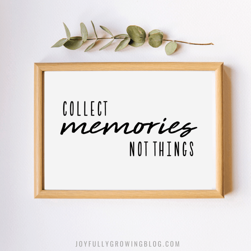 Wood frame with printable that reads Collect Memories Not Things (perfect for RV life)