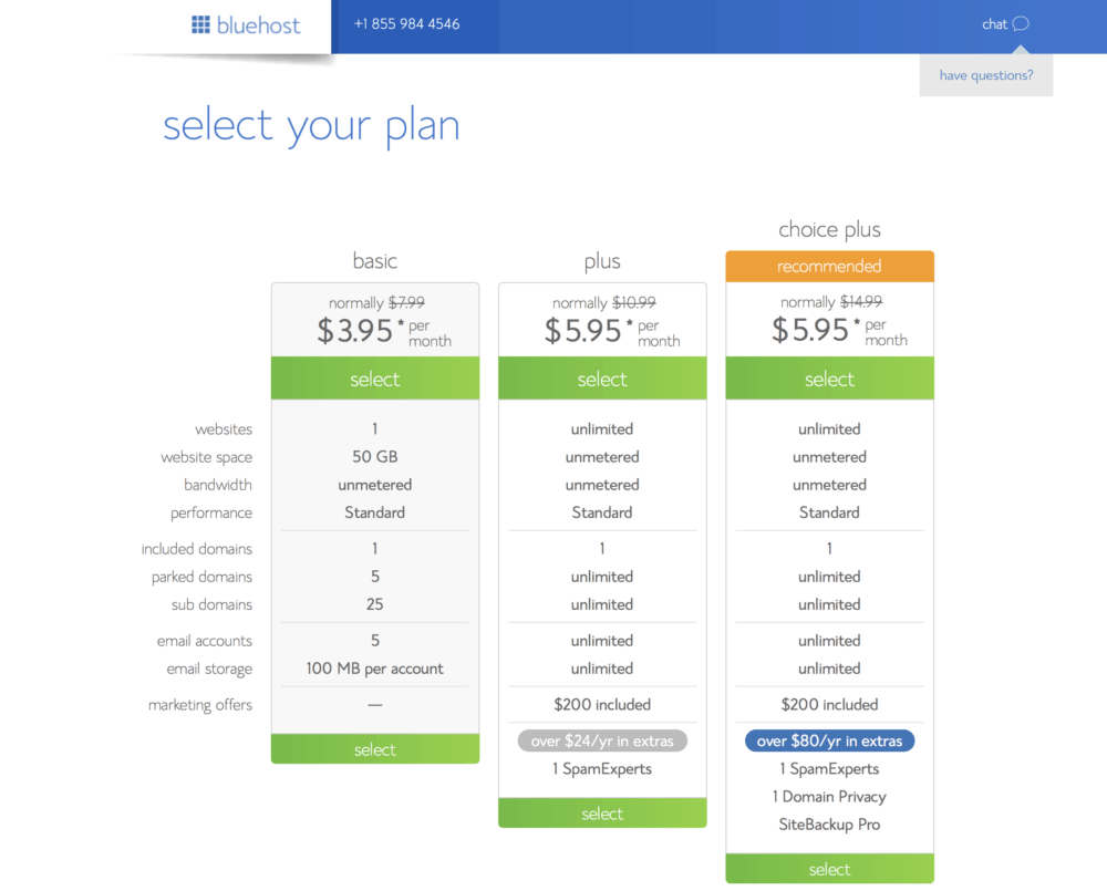 Bluehost tutorial screenshot of monthly plan options