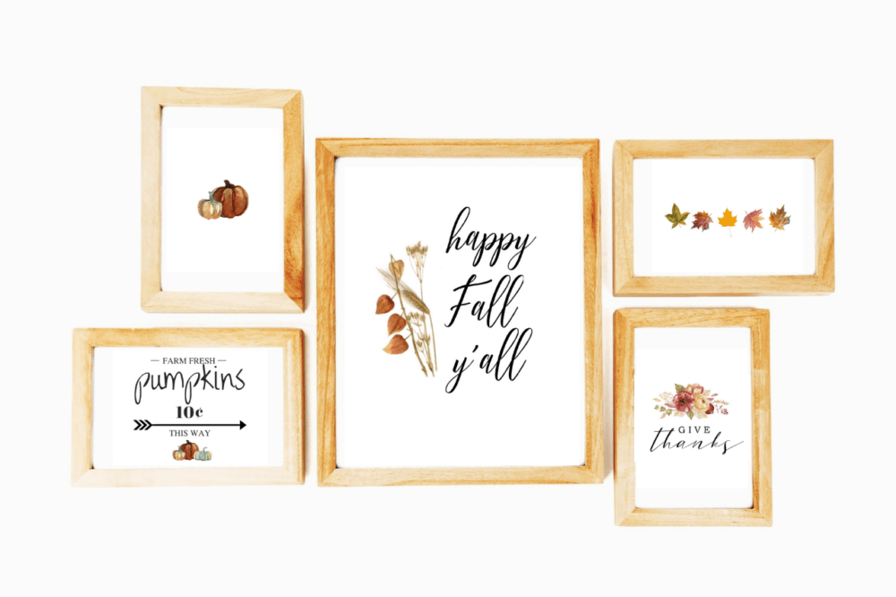 Free fall printables inside wood frames
