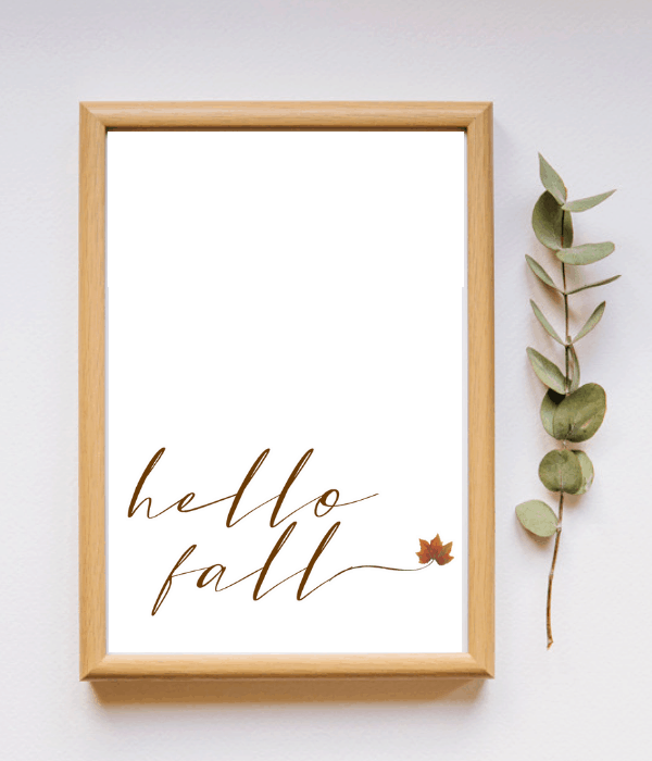 Wood frame with free printable that says 'hello fall'