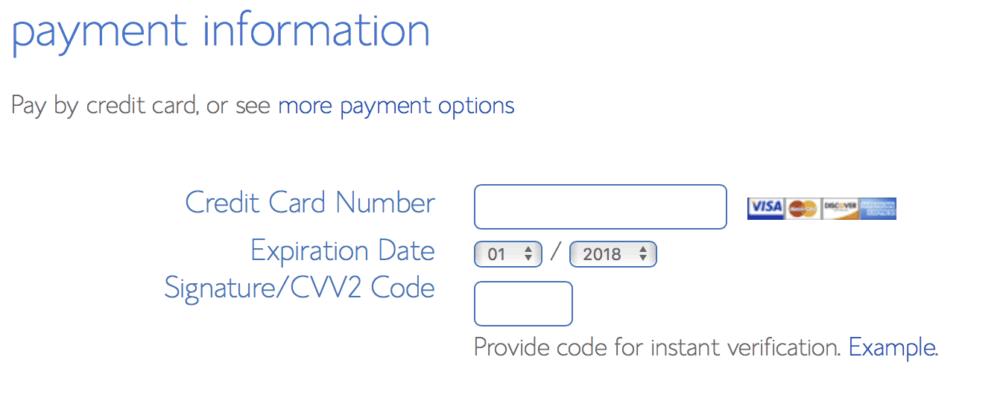 Bluehost tutorial screenshot of payment information setup
