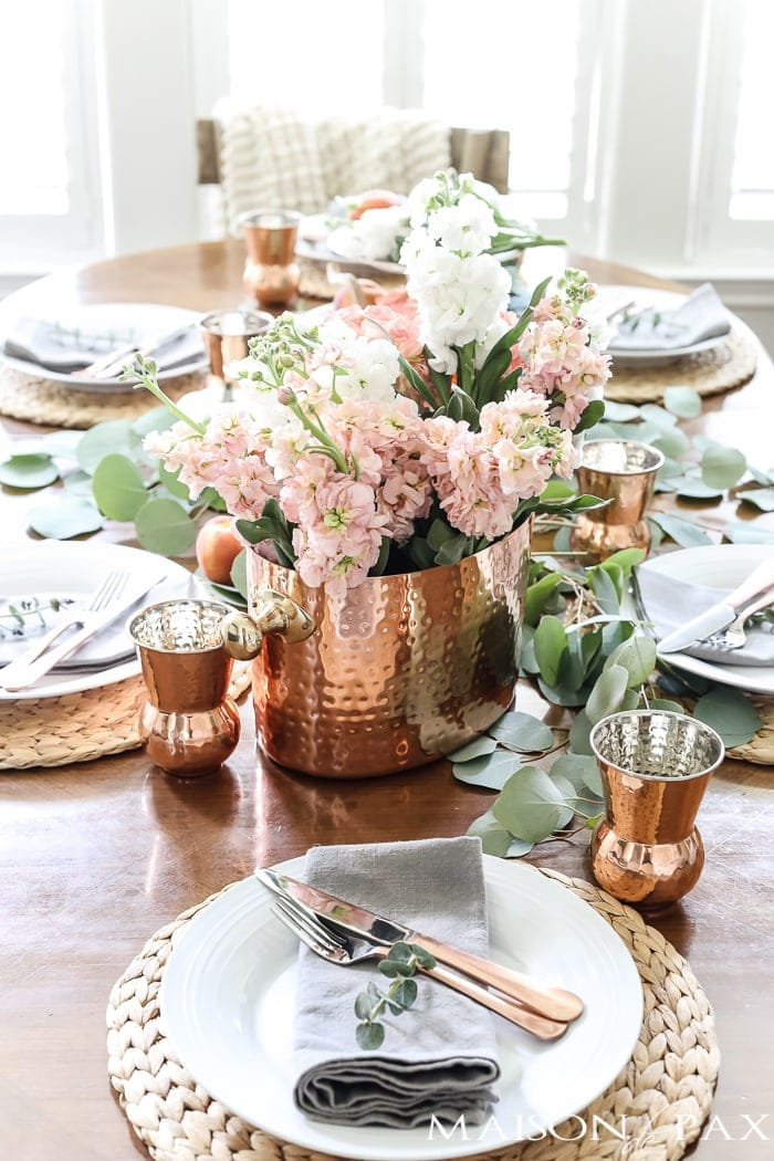 Thanksgiving table centerpieces with copper vase and blush florals