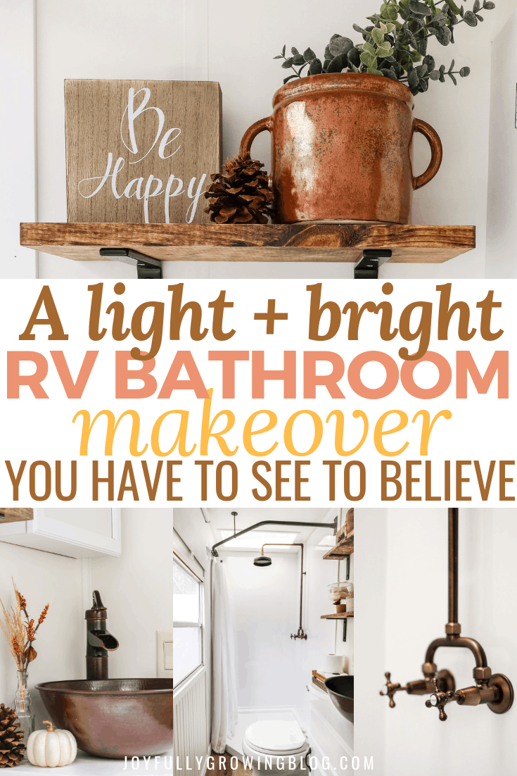 Rv bathroom remodel reveal with 4 teaser images and text overlay