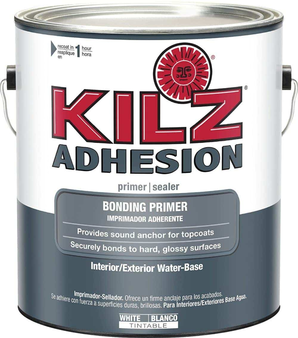 Product image of KILZ adhesion bonding primer used to paint RV interior walls
