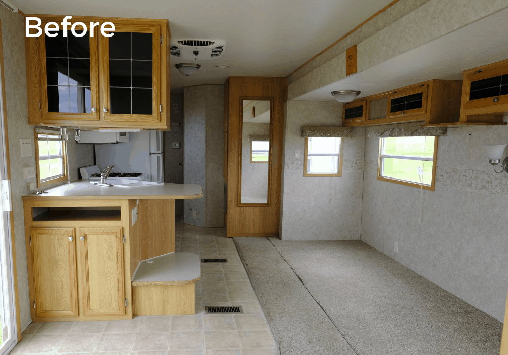 RV kitchen remodel before photo with original cabinets and carpet