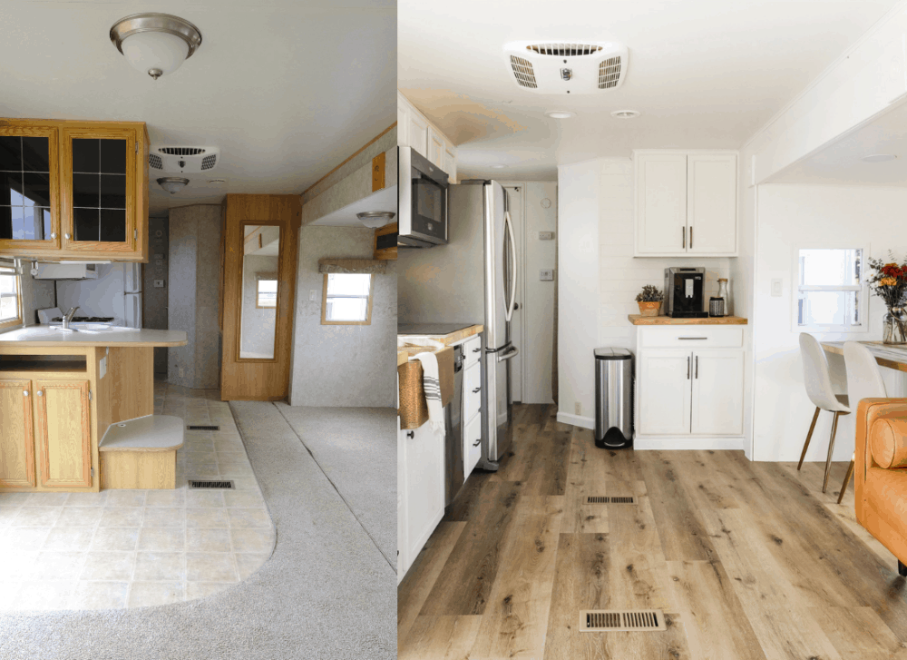 RV kitchen before and after side by side photo