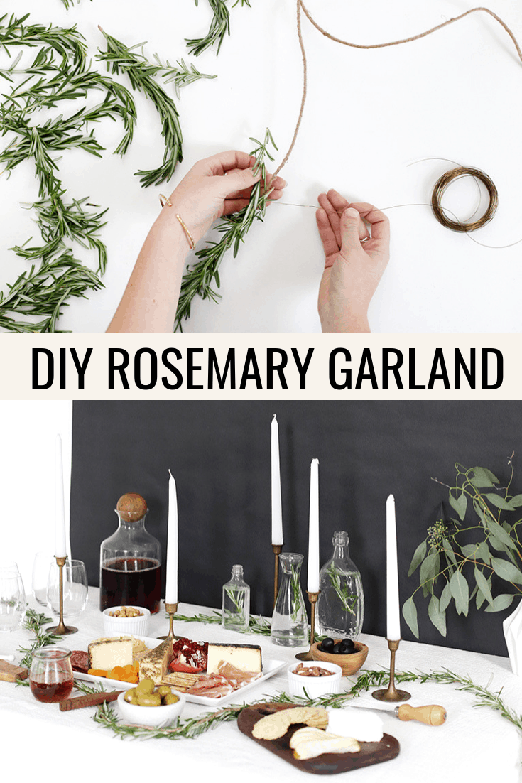 A photo collage showing how to make a Christmas garland using rosemary sprigs and jute twine