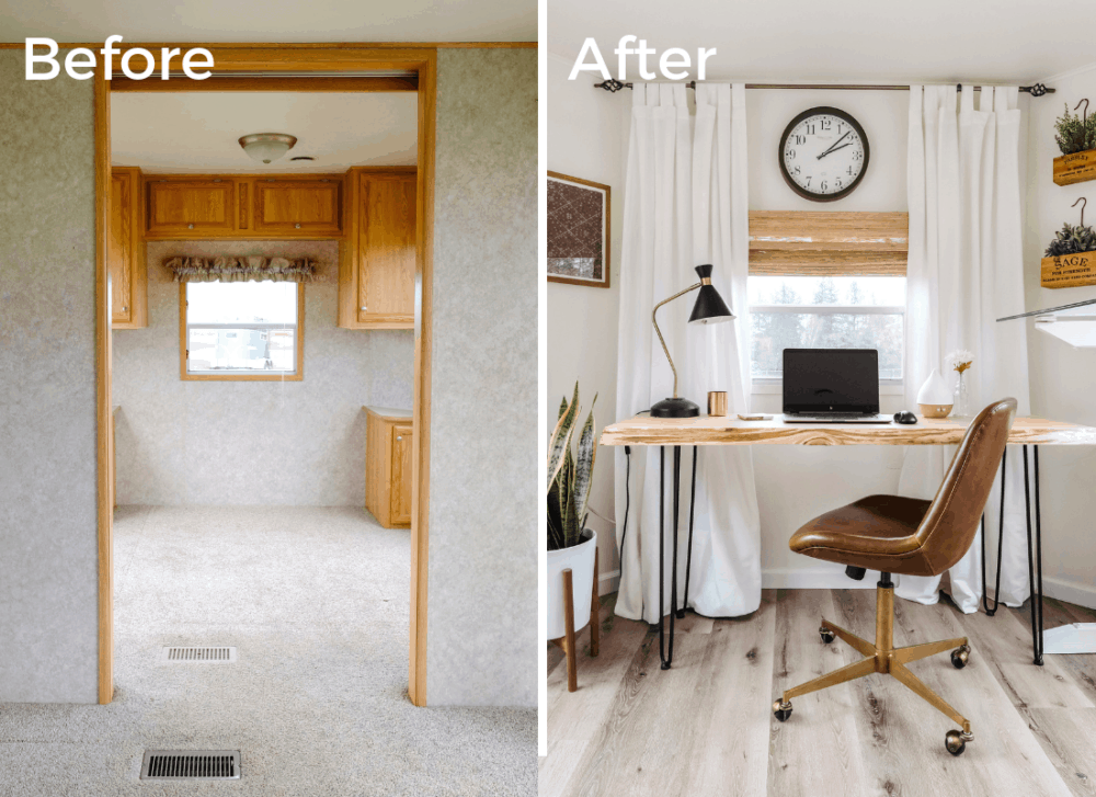 Before and after photos side by side of an RV home office makeover