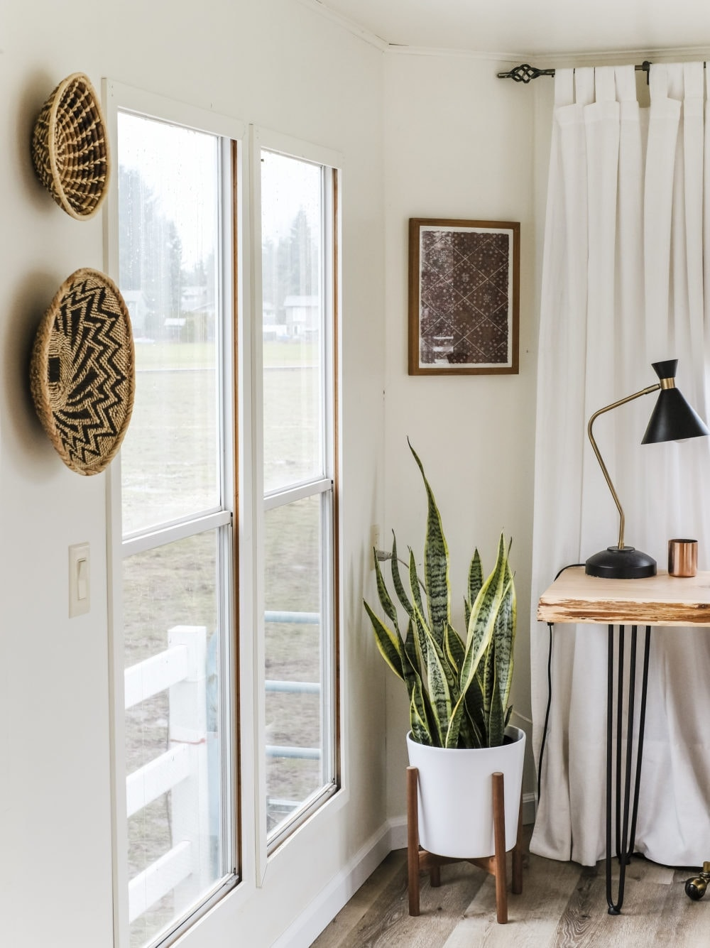 Home office inspiration with woven baskets on the wall and a snake plant in the corner