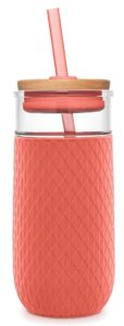 Glass water bottle with straw for first trimester essentials