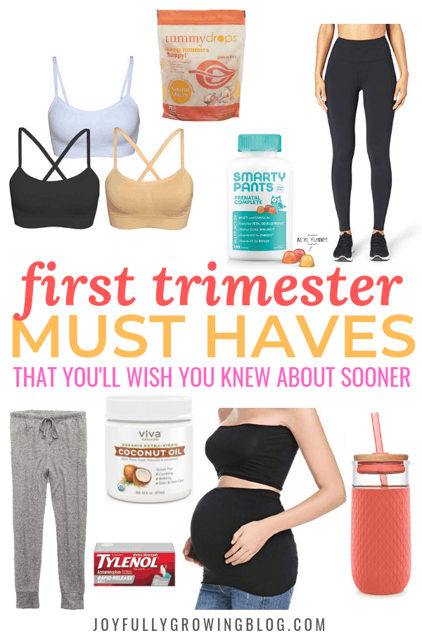 first trimester must haves image with 9 pregnancy products