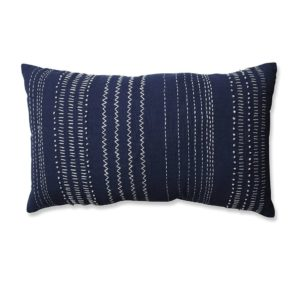 navy lumbar throw pillow with white stitching