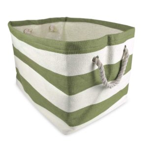 green striped storage bin