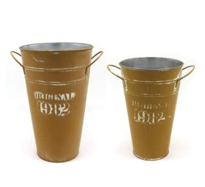 mustard yellow metal flower buckets