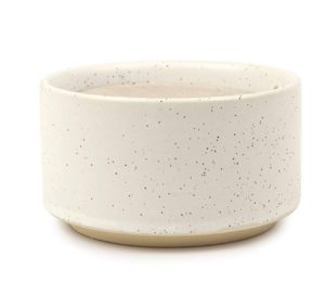 scented soy wax candle in speckled ceramic