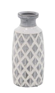 geometric ceramic vase in blue color