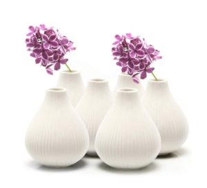 white clay flower vases set of 6