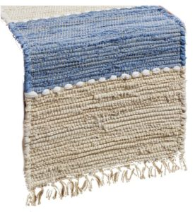 natural fiber table runner with blue stripe
