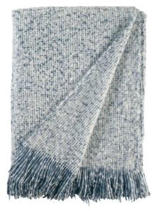 blue woven throw blanket