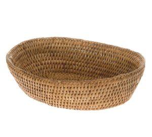 handwoven rattan bread bowl
