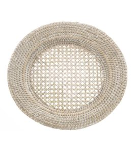 coastal style round rattan charger plate