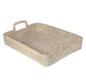 rattan rectangular high walled serving tray with handles
