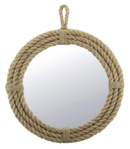 coastal style wrapped rope mirror with hanging loop