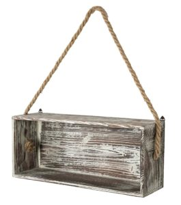 wood shelf box with hanging rope