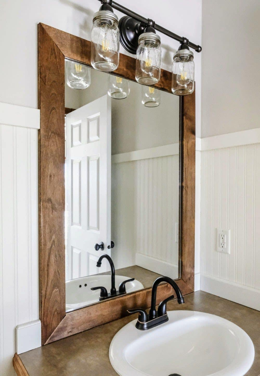 finished bathroom mirror frame