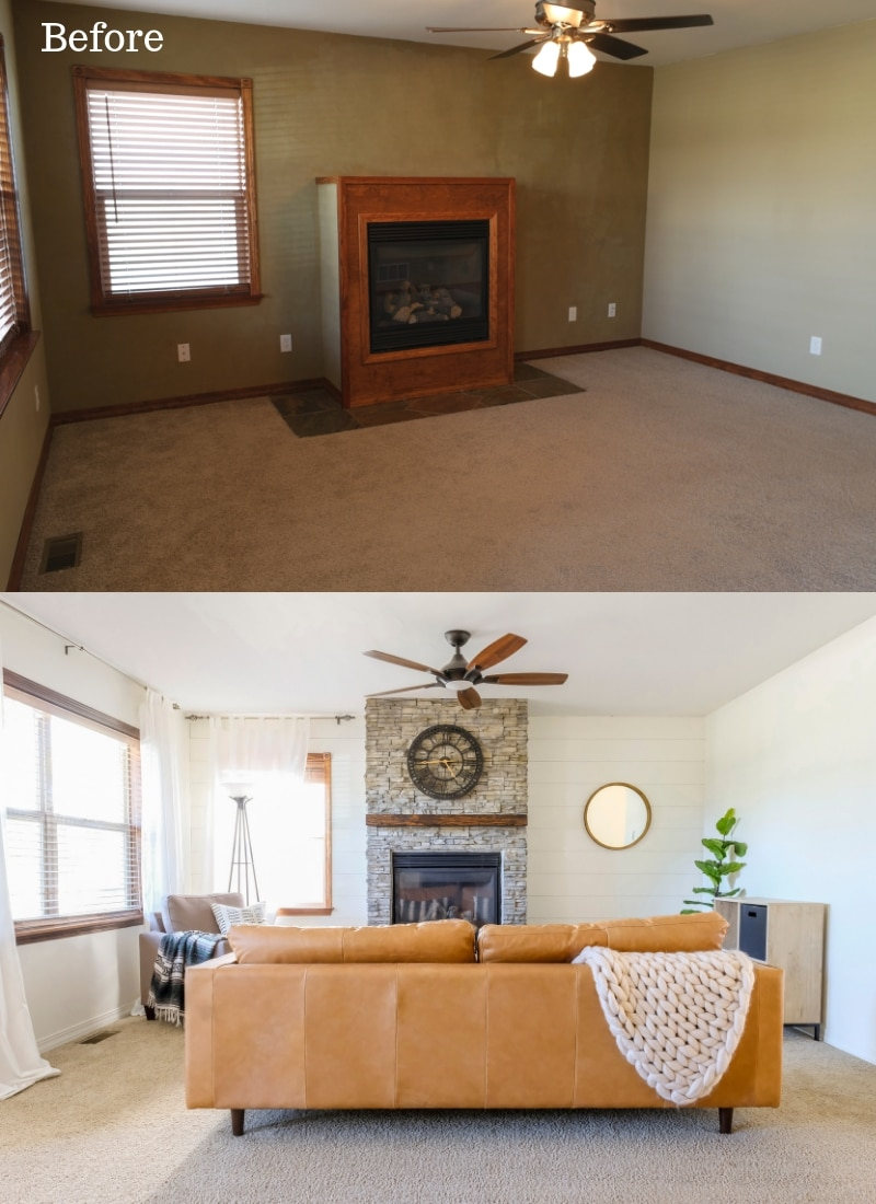 how to brighten a dark living room before and after pictures