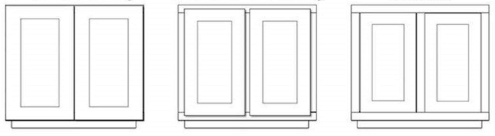 a front view of different cabinet door styles